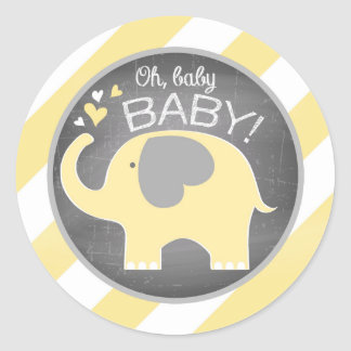Yellow Elephant Diagonal Stripe Baby Shower Round Sticker