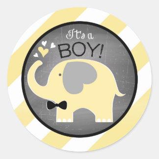 Yellow Elephant Diagonal Stripe Boy Baby Shower Round Sticker
