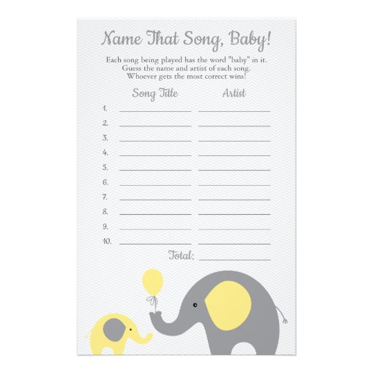 Yellow Elephant Guess the Baby Song Shower Game Flyer