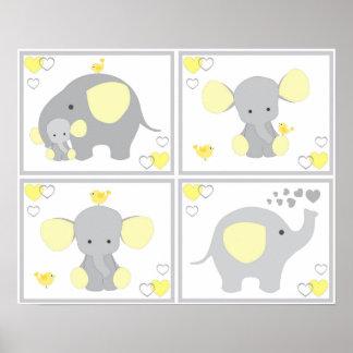 Yellow Elephant Neutral Nursery Wall Art Prints