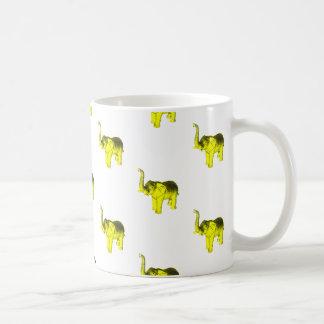 Yellow Elephant Pattern Basic White Mug