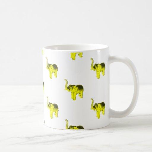 Yellow Elephant Pattern Mugs