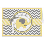 Yellow Elephant Tie Chevron Print Thank You Card