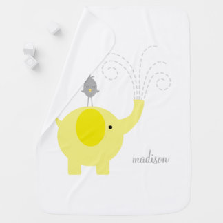 Yellow Elephant with Bird Personalized Baby Blanket