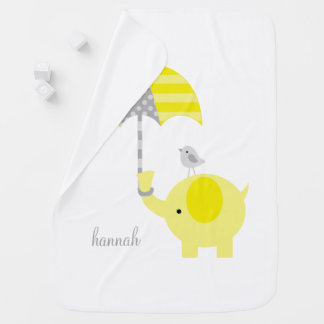 Yellow Elephant with Umbrella Personalized Swaddle Blankets
