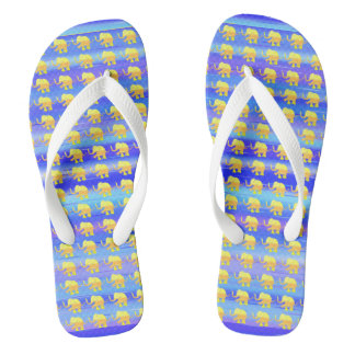 Yellow Elephants on Blue and Turquoise Stripes Flip Flops