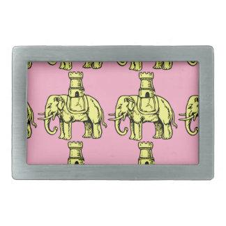 yellow elephants on pink background belt buckle