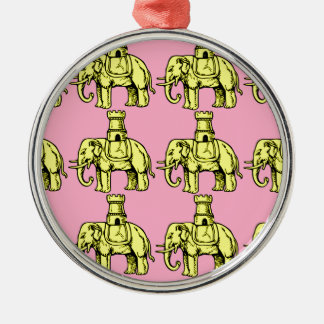 yellow elephants on pink background christmas ornament