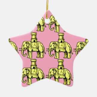 yellow elephants on pink background christmas ornament