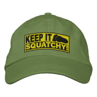 Yellow EMBROIDERED Keep It Squatchy - Bobo s Embroidered Baseball Caps