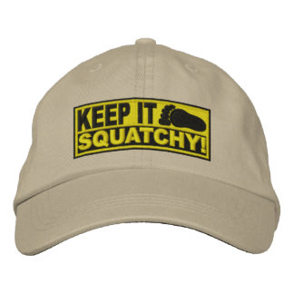 Yellow EMBROIDERED Keep It Squatchy - Bobo s Embroidered Baseball Cap