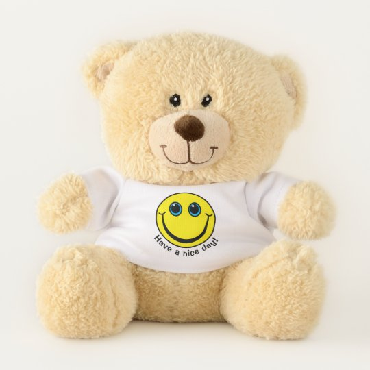 yellow emoji face have a nice day small teddy bear zazzle co uk