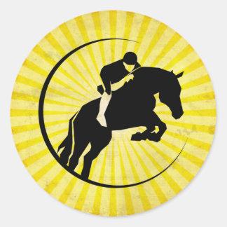 Yellow Equestrian Classic Round Sticker