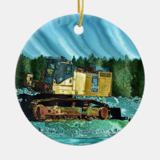 Yellow Excavator Earth-Mover Art Gift Christmas Ornament