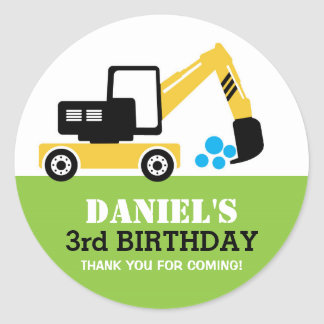 Yellow Excavator Kids Birthday Party Sticker