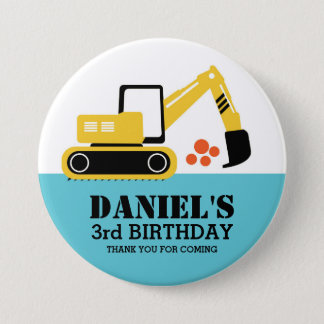 Yellow Excavator Kids Construction Party Button