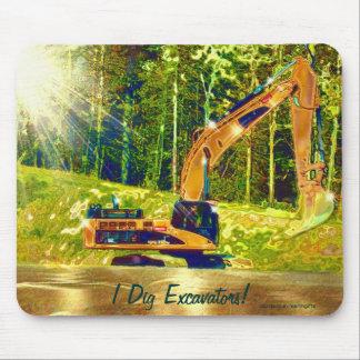 Yellow Excavator Power Shovel Art Mousepad