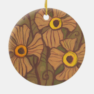 Yellow-eyed flowers, floral art,olive green brown round ceramic decoration