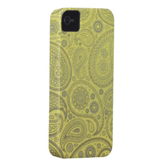 Yellow fabric paisley pattern iPhone 4 case
