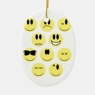 Yellow Face Icons Ceramic Oval Decoration