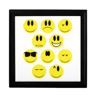 Yellow Face Icons Large Square Gift Box