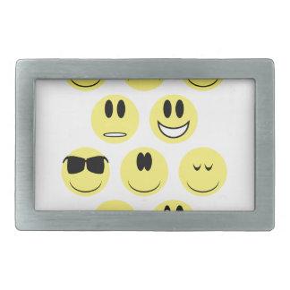 Yellow Face Icons Rectangular Belt Buckle