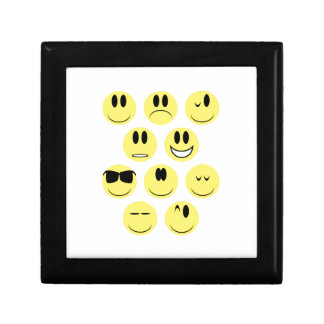 Yellow Face Icons Small Square Gift Box