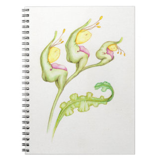 Yellow face red belly plant notebook