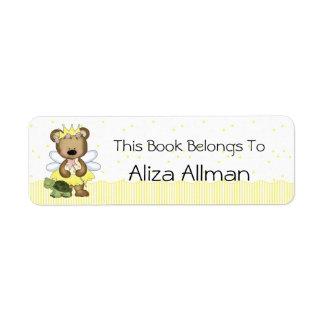 Yellow Fairy Bear Bookplate Label Return Address Label