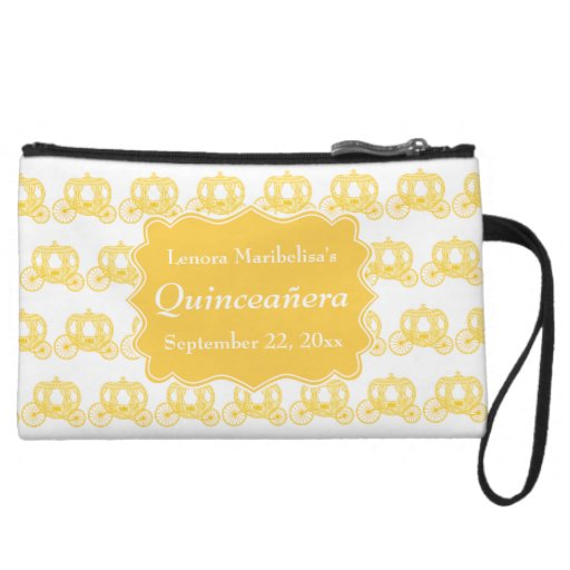 Yellow Fairytale Carriages Quinceanera Wristlet