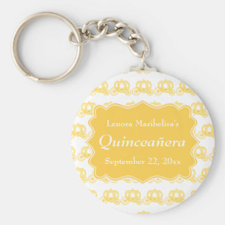 Yellow Fairytale Carriages Quinceanera Key Chains