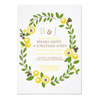Yellow Fall Floral Wedding Invitations