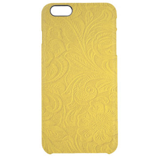Yellow Faux Suede Leather-Embossed Floral Design Clear iPhone 6 Plus Case