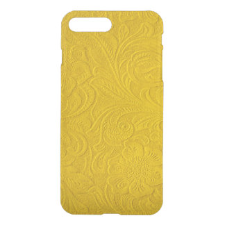 Yellow Faux Suede Leather-Embossed Floral Design iPhone 7 Plus Case