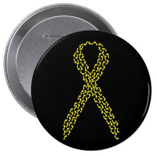 Yellow Feet Awareness Ribbon 10 Cm Round Badge