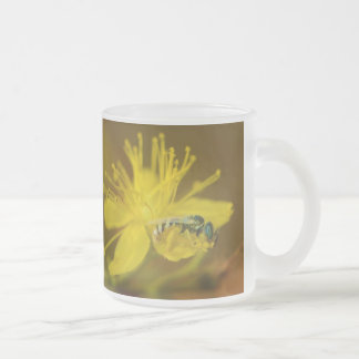 Yellow Female Bee Collecting Pollen Frosted Glass Coffee Mug