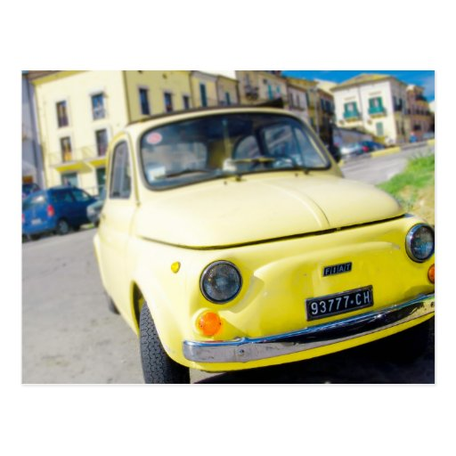 Yellow Fiat 500, vintage Cinquecento in Italy Post Cards