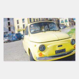 Yellow Fiat 500, vintage Cinquecento in Italy Rectangular Sticker
