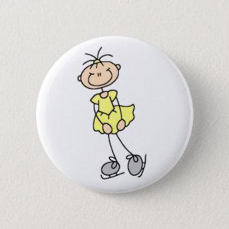 Yellow Figure Skater Button