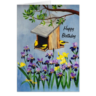 Yellow Finch Birthday Card