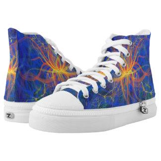 Yellow Fire Star Blue Funky Abstract Art Design High Tops