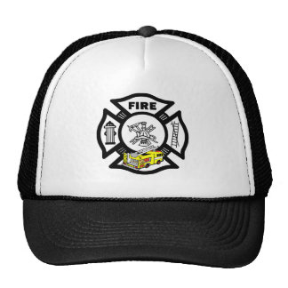 Yellow Fire Truck Rescue Mesh Hat