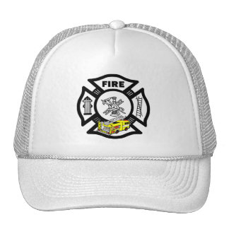 Yellow Fire Truck Rescue Mesh Hats