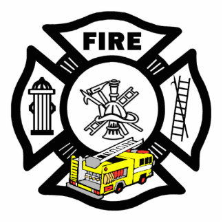 Yellow Fire Truck Rescue Photo Sculpture Decoration