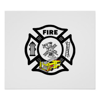 Yellow Fire Truck Rescue Posters