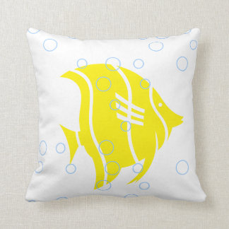 Yellow fish  on  white  PILLOW