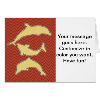 Yellow Fishes on zigzag chevron - Red Greeting Card