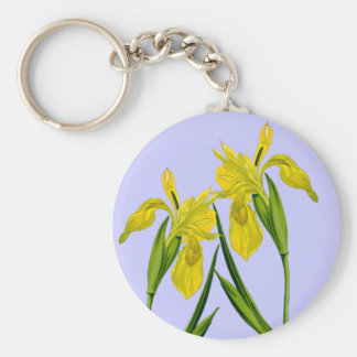 Yellow Flag Iris Botanical Drawing Keychain