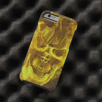yellow flame skull head tough iPhone 6 case