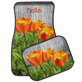 Yellow Flamed Red Tulips Car Mats *Personalize* Car Mat